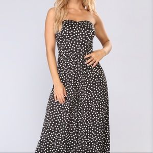 Polka Dot Strapless Jumpsuit Fashion Nova M